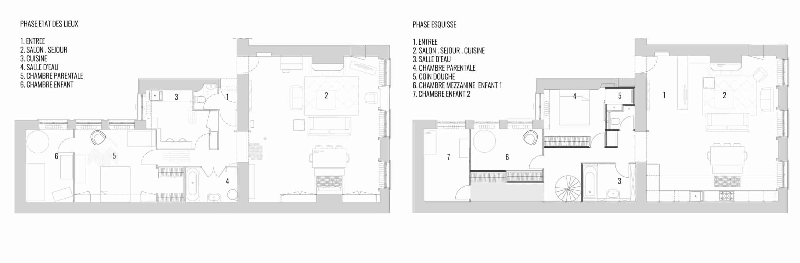 PRESTATIONS - Gros plan d'un texte sur un fond blanc - Plan d'étage